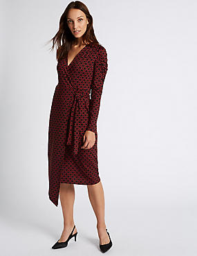 Printed Ruched Sleeve Wrap Midi Dress, BLACK MIX, catlanding