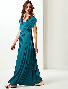 Multiway Strap Maxi Dress, TEAL, catlanding
