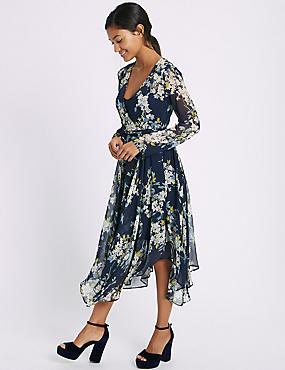 Floral Print Hanky Hem Midi Dress, NAVY MIX, catlanding