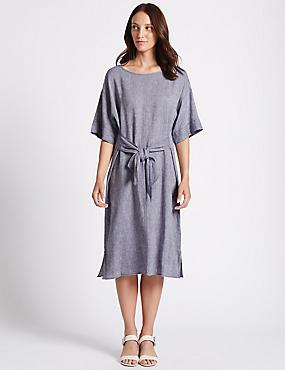 Robe midi style tube chambray en lin, CHAMBRAY, catlanding