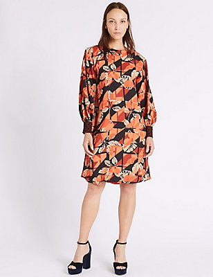 Printed Contrasting Cuff Tunic Midi Dress, ORANGE MIX, catlanding