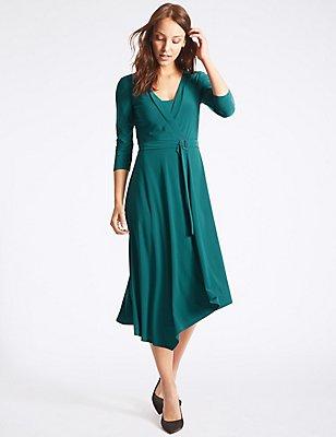 Asymmetrical Hem 3/4 Sleeve Wrap Midi Dress, TEAL, catlanding