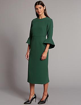 Flared Sleeve Bodycon Midi Dress, EMERALD, catlanding