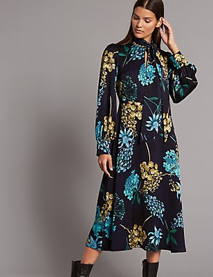 Floral Print Long Sleeve Maxi Dress, , catlanding