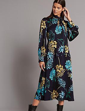 Floral Print Long Sleeve Midi Dress, NAVY MIX, catlanding