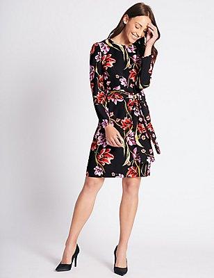 Midi-Tunika-Kleid mit langen Ärmeln und Blumenmuster, SCHWARZ MELANGE, catlanding