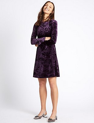 Velvet Long Sleeve Skater Midi Dress, MULBERRY, catlanding