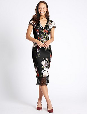 Floral Print Fuller Bust Bodycon Midi Dress , BLACK MIX, catlanding
