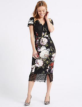 PETITE Floral Print Bodycon Midi Dress, BLACK MIX, catlanding