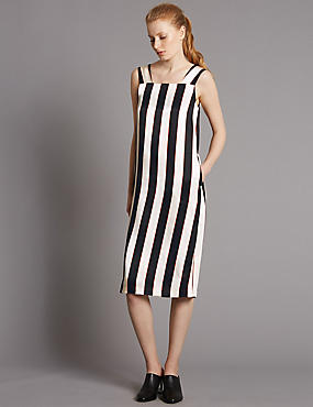 Striped Midi Dress with Belt, IVORY MIX, catlanding