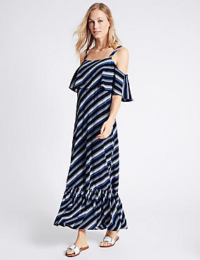 Striped Slip Dress, BLUE MIX, catlanding