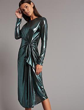 Metallic Knot Front Bodycon Midi Dress, TEAL, catlanding