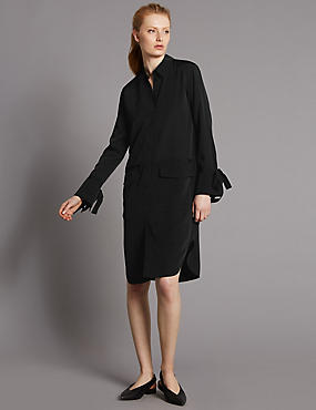 Cuff Detail Long Sleeve Shirt Dress, BLACK, catlanding