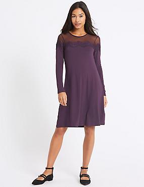 Lace Yoke Long Sleeve Swing Dress, DEEP PURPLE, catlanding