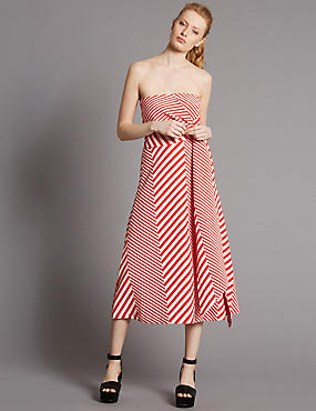 Cotton Blend Striped Skater Midi Dress, RED MIX, catlanding