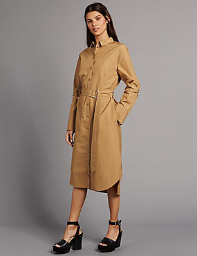 Pure Cotton Belted Long Sleeve Shirt Dress, STONE, catlanding