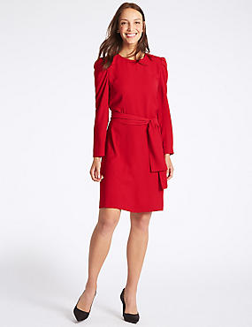 Tie Waist Puff Sleeve Tunic Dress, RED, catlanding