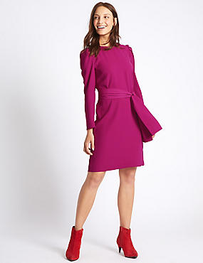Tie Waist Puff Sleeve Tunic Dress, MAGENTA, catlanding