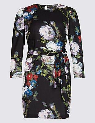 PLUS Smudge Floral Print Tunic Dress, BLACK MIX, catlanding