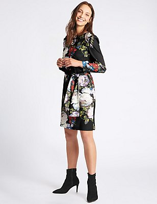 Floral Print Long Sleeve Tunic Midi Dress, BLACK MIX, catlanding