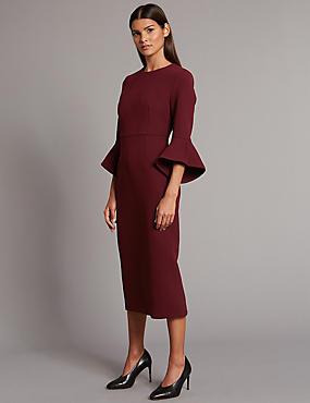 Flared Sleeve Bodycon Midi Dress, BERRY, catlanding