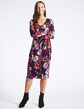 Floral Print Long Sleeve Wrap Midi Dress, PURPLE MIX, catlanding
