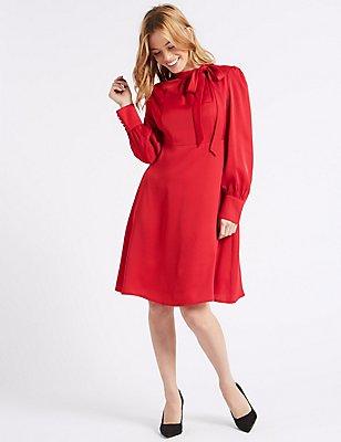 PETITE Long Sleeve Midi Dress, RED, catlanding