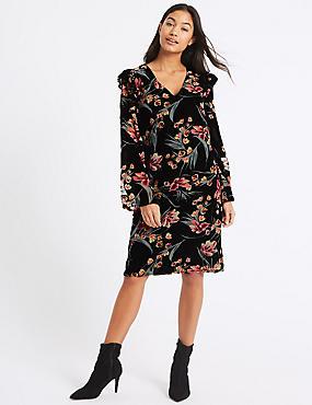 Printed Long Sleeve Tunic Dress, BLACK MIX, catlanding