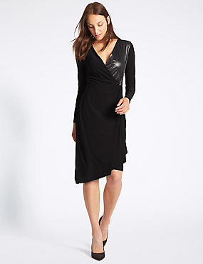 Lame Drape Long Sleeve Bodycon Midi Dress, BLACK MIX, catlanding
