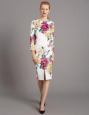 Floral Print Bodycon Dress, MULTI, catlanding