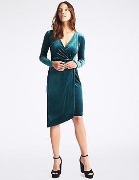 Velvet Drape Waist Bodycon Midi Dress, DARK BOTTLE, catlanding