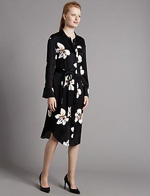Floral Print Shirt Dress with Belt, BLACK MIX, catlanding