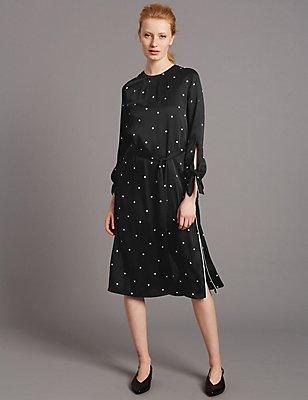 Spotted Long Sleeve Tunic Dress, BLACK MIX, catlanding