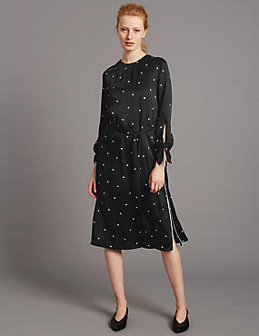 Spotted Long Sleeve Tunic Dress, BLACK MIX, catlanding