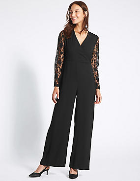 Wrap Lace Sleeve Jumpsuit, BLACK MIX, catlanding