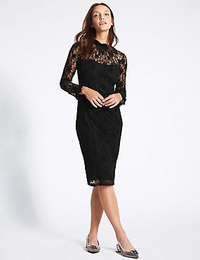 Floral Lace Long Sleeve Bodycon Midi Dress, BLACK MIX, catlanding