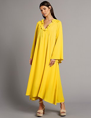 Elliptical Hem Long Sleeve Maxi Dress , YELLOW, catlanding