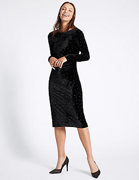 Stud Velvet Long Sleeve Tunic Midi Dress , BLACK MIX, catlanding