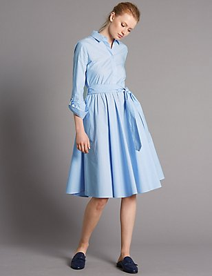 Pure Cotton Striped Shirt Dress with Belt, BLUE MIX, catlanding