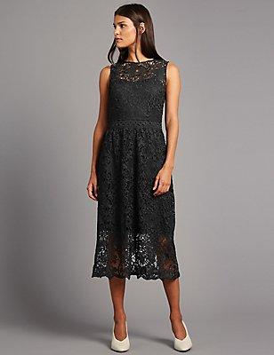 Floral Lace Midi Dress , BLACK, catlanding