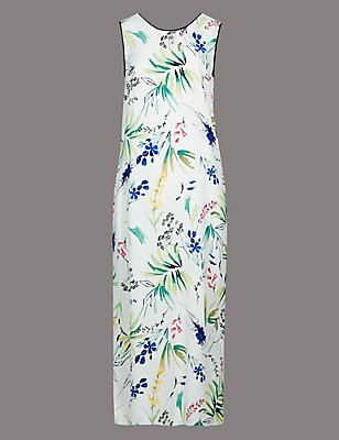 Floral Print Sleeveless Shift Dress, IVORY MIX, catlanding