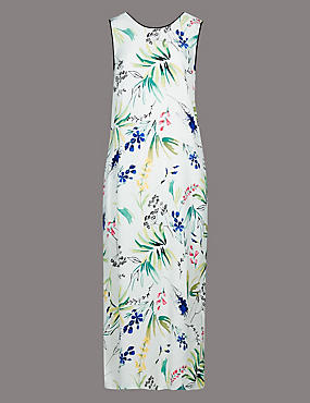 Floral Print Sleeveless Shift Dress, IVORY MIX, catlanding