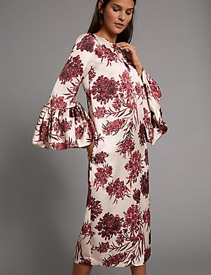 Satin Floral Print Shift Midi Dress, RED MIX, catlanding