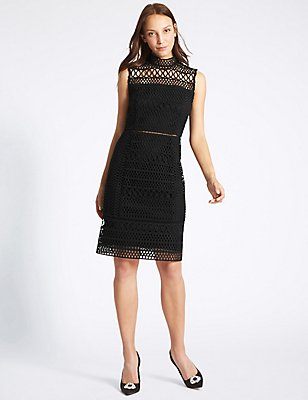Geometric Lace Shift Midi Dress, BLACK, catlanding