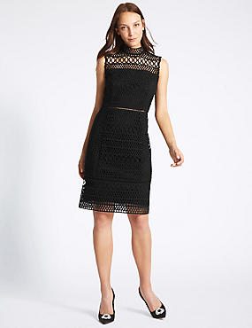 Geometric Lace Sleeveless Shift Dress, BLACK, catlanding