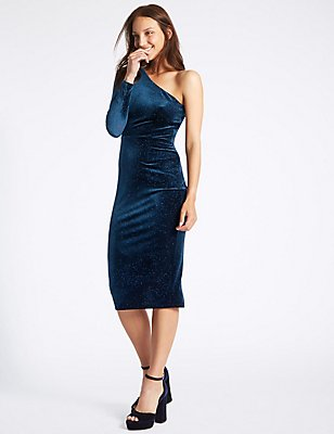 Velvet Sparkle Bodycon Midi Dress, MIDNIGHT, catlanding