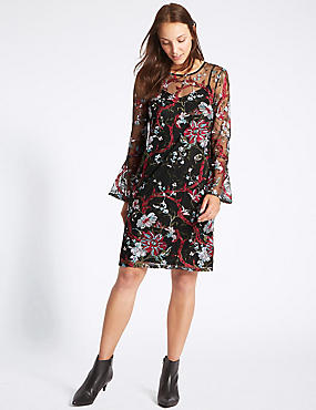 Embroidered Botanical Mesh Tunic Dress, BLACK MIX, catlanding