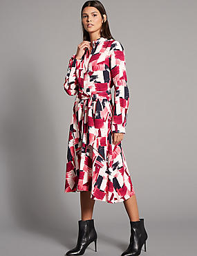 Printed Shirt Midi Dress with Belt, BRIGHT PINK MIX, catlanding