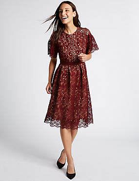 Floral Lace Short Sleeve Skater Midi Dress, BURGUNDY, catlanding