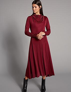 Hanky Hem Cowl Neck Bodycon Midi Dress, BURGUNDY, catlanding